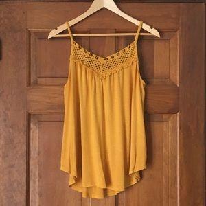 Mustard Yellow Flowy Crochet Summer Tank Top